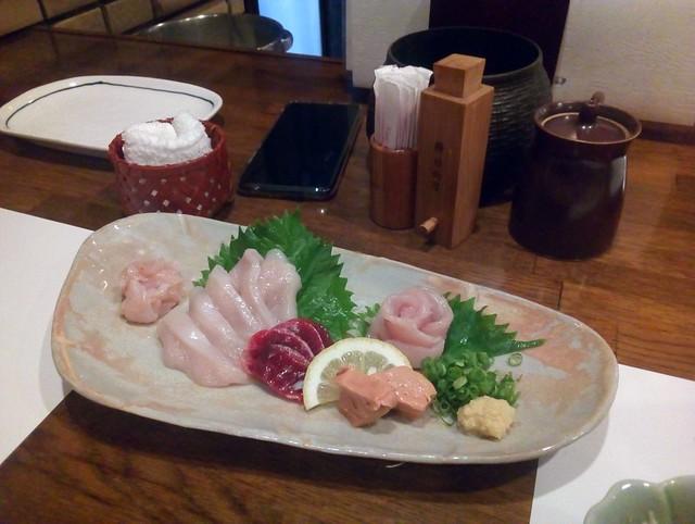 Tori sashi (raw chicken) at an izakaya by bryandkeith on flickr