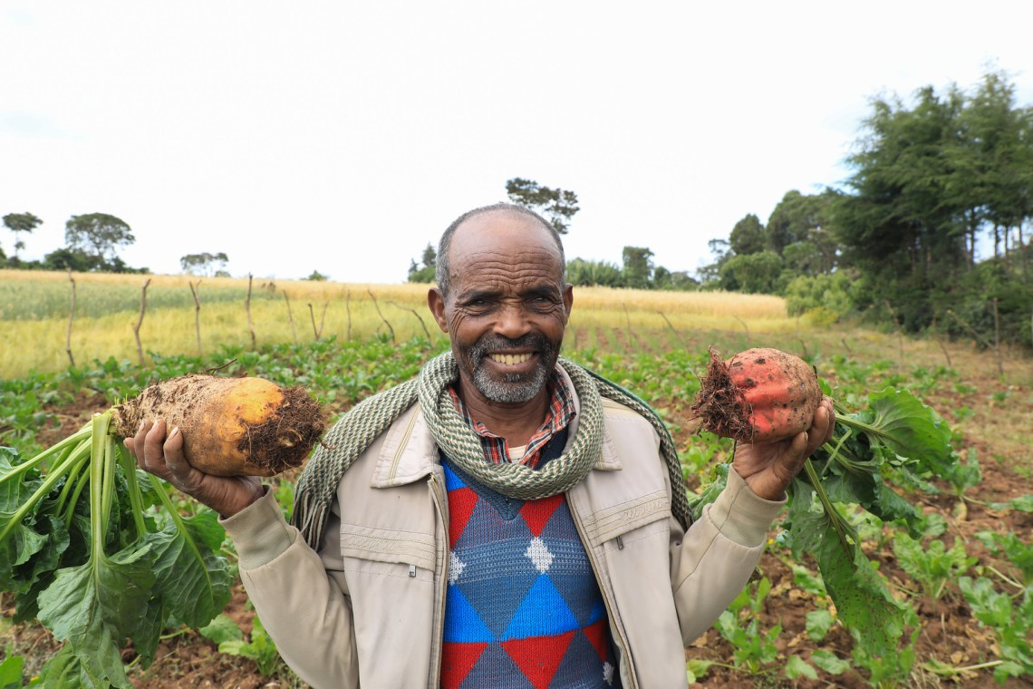 Tesfaye displays fodder-beat harvest in his farm