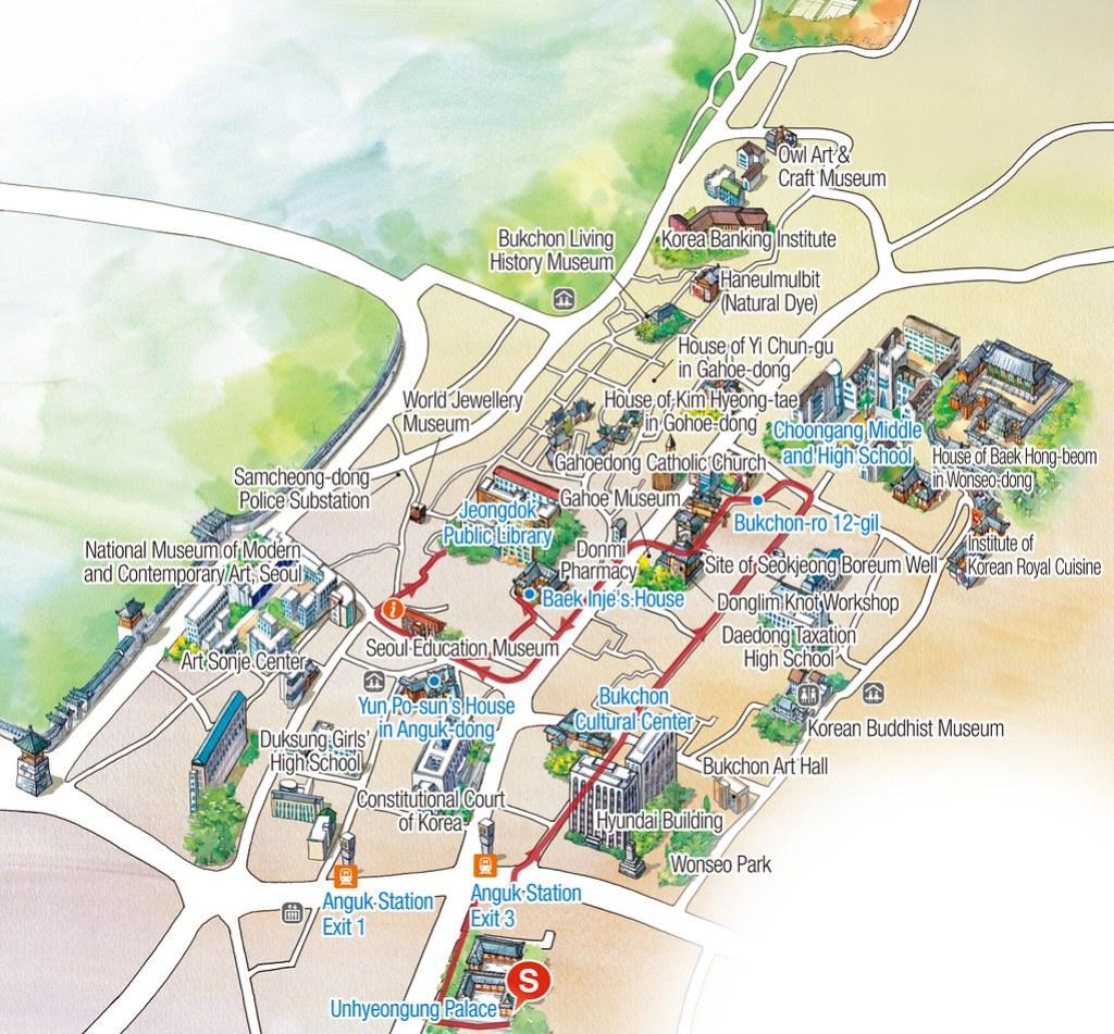 Bukchon Hanok Village Map   How to go to Bukchon Hanok Village