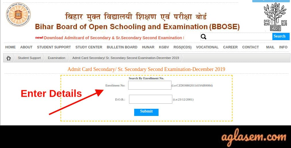 BBOSE 12th Admit Card December 2019