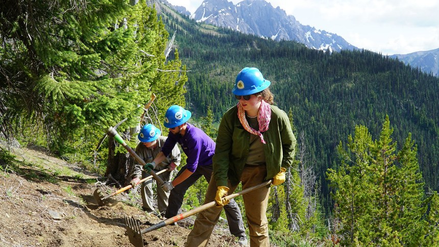 Pacific Northwest Trail Association trail crew members work on a section of trail within Olympic National Forest in 2019, photo courtesy of Pacific NW Trail Association.