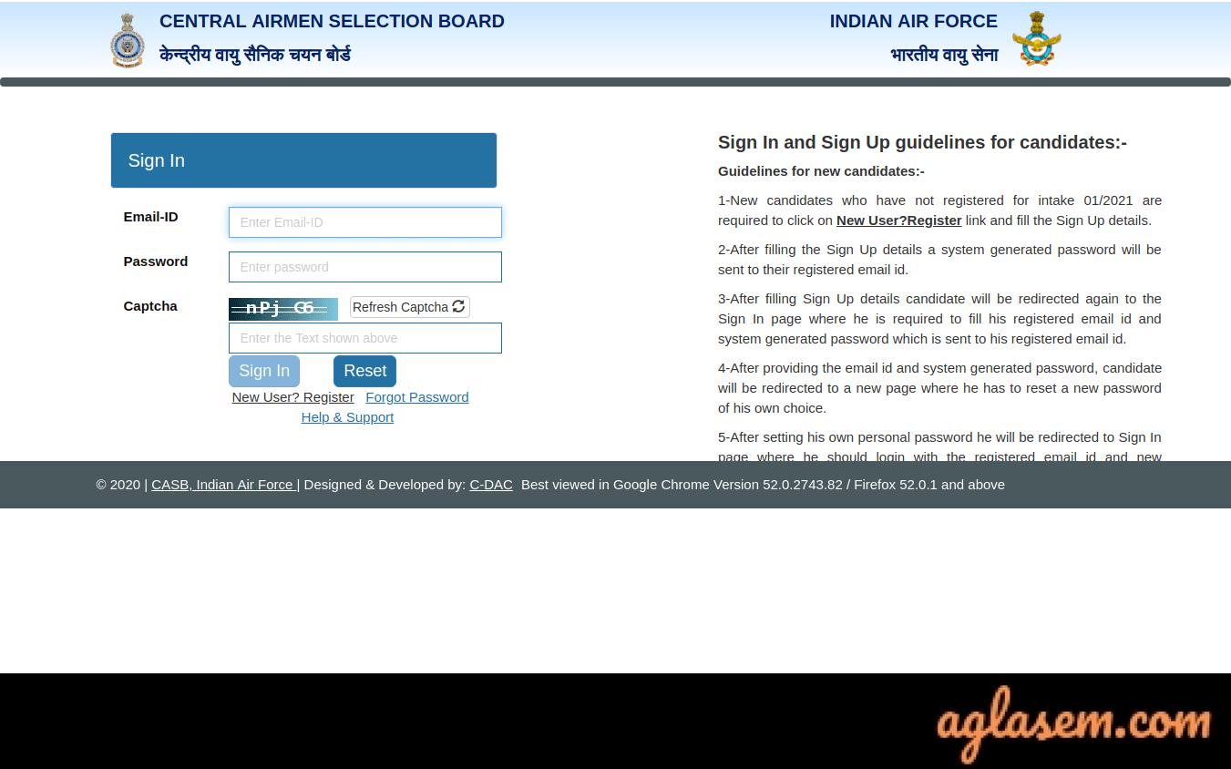 Indian Air Force Airmen 2021  Application Form