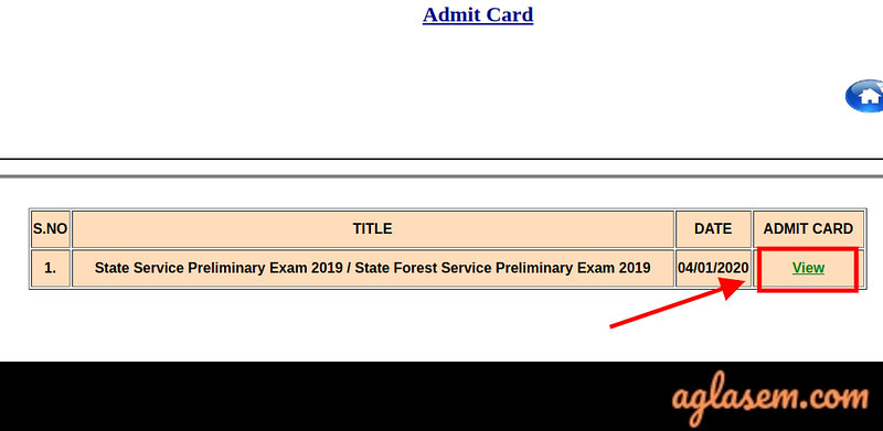MPPSC State Forest Service Exam Admit Card