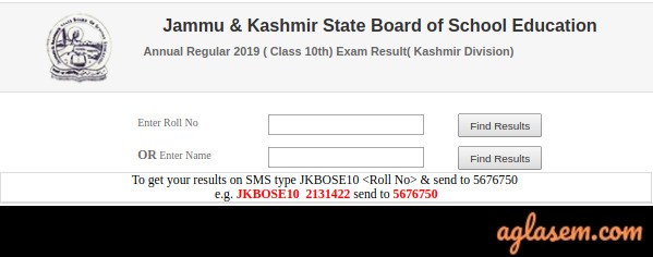 JKBOSE 10th Annual Result 2019 Kashmir Division Name Wise