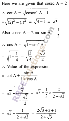 RBSE Solutions for Class 9 Maths Chapter 14 Trigonometric Ratios of Acute Angles Miscellaneous Exercise 25