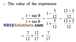 RBSE Solutions for Class 9 Maths Chapter 14 Trigonometric Ratios of Acute Angles Additional Questions 17
