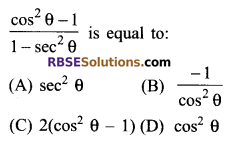 RBSE Solutions for Class 9 Maths Chapter 14 Trigonometric Ratios of Acute Angles Additional Questions 3