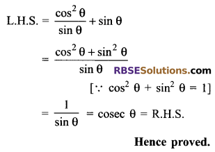 RBSE Solutions for Class 9 Maths Chapter 14 Trigonometric Ratios of Acute Angles Ex 14.3 2