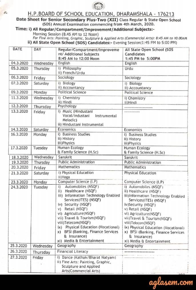 HP SOS 12th Date Sheet March 2020
