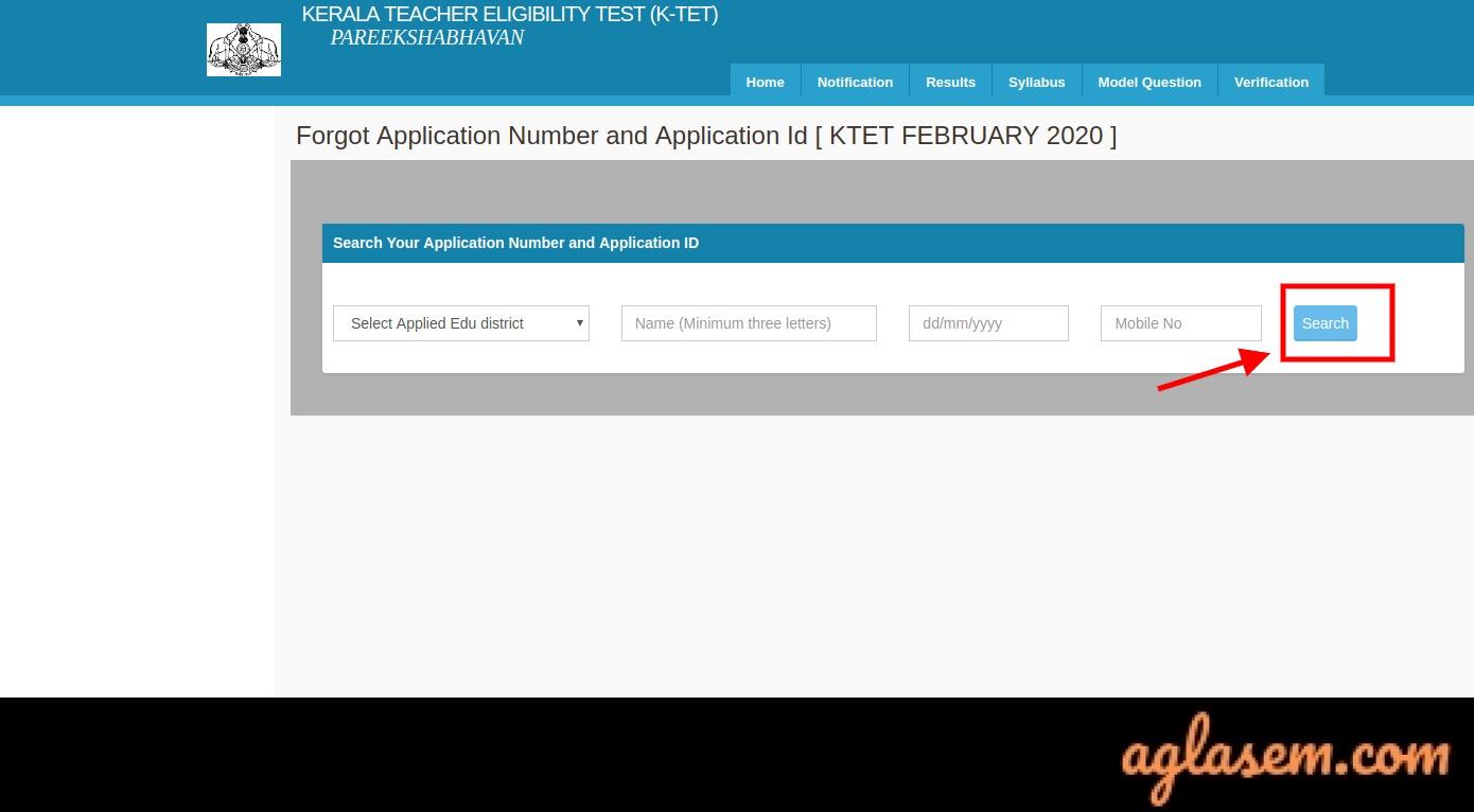 KTET Application Form 2020 Forgot Application Number
