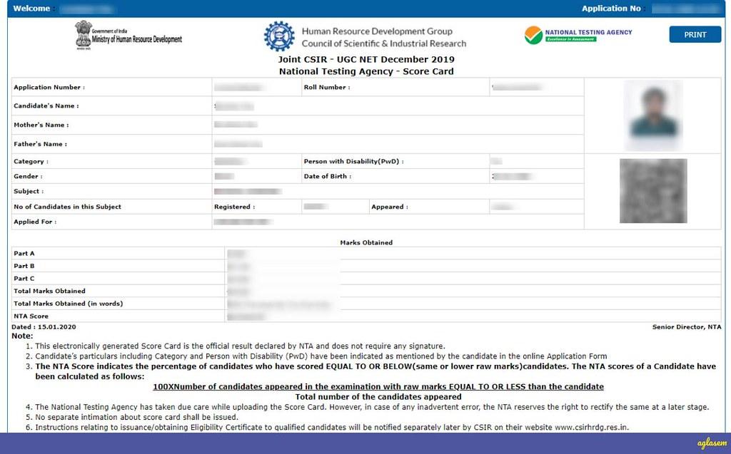 CSIR NET Score Card