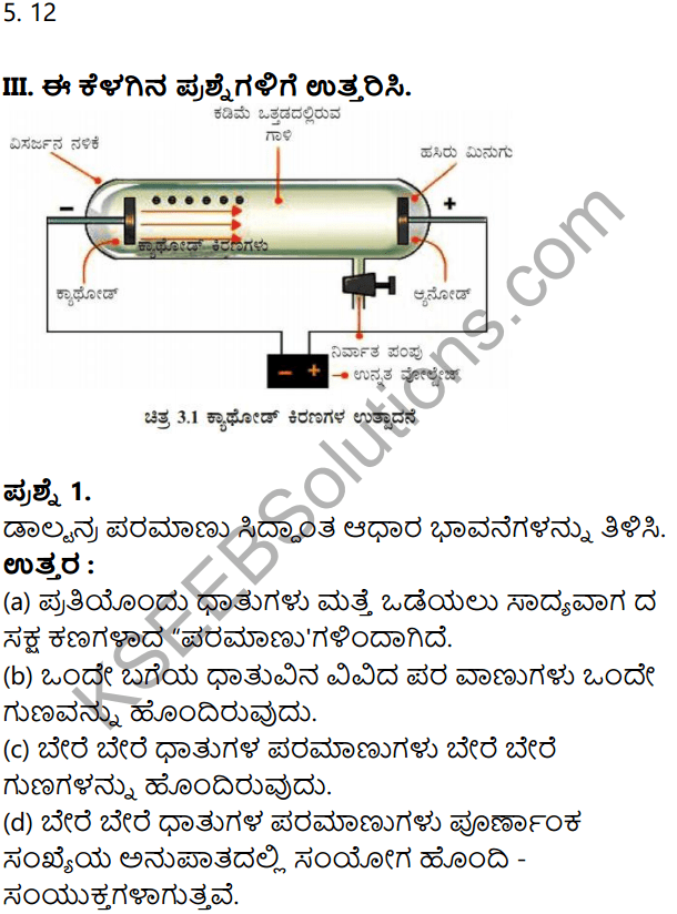 KSEEB Solutions for Class 8 Science Chapter 3 Paramanuvina Rachane in Kannada 4