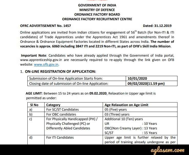 Ordnance Factory Board Apprentice Recruitment 2020 Notification
