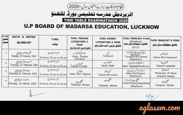 UP Madarsa Time Table 2020