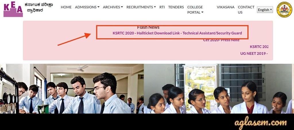 KSRTC Technical Assistant Hall Ticket 2020