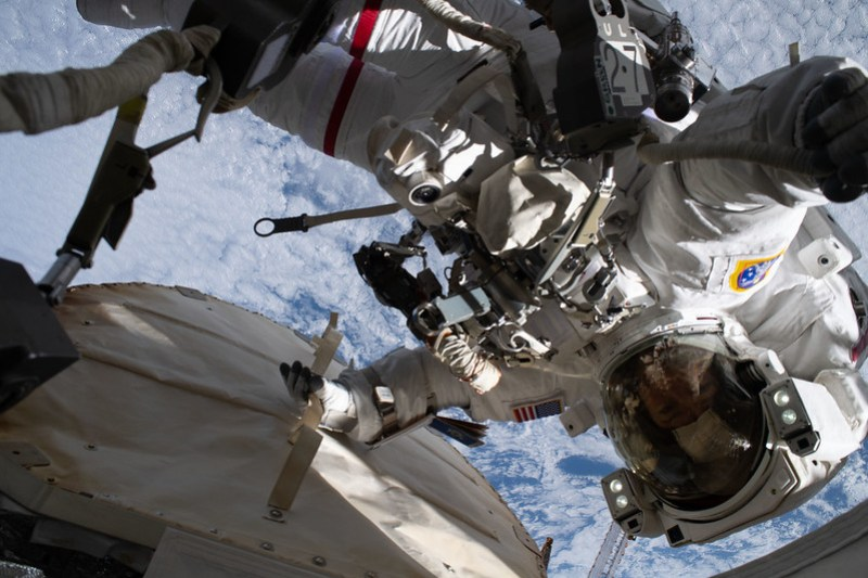 Astronaut Jessica Meir during a spacewalk