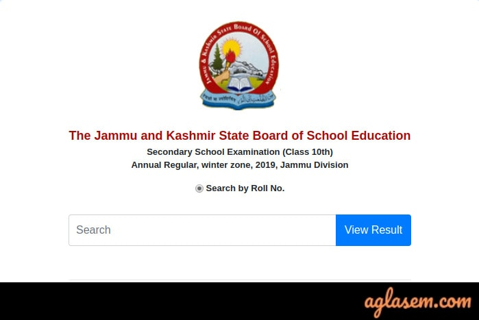 JKBOSE 10th Annual Result 2019 Jammu Division Winter Zone Roll Number Wise