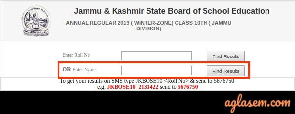 JKBOSE 10th Annual Result 2019 Jammu Division Winter Zone Name Wise