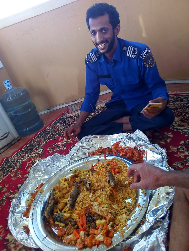 This guard and his two colleagues treated me to this wonderful seafood lunch. by bryandkeith on flickr
