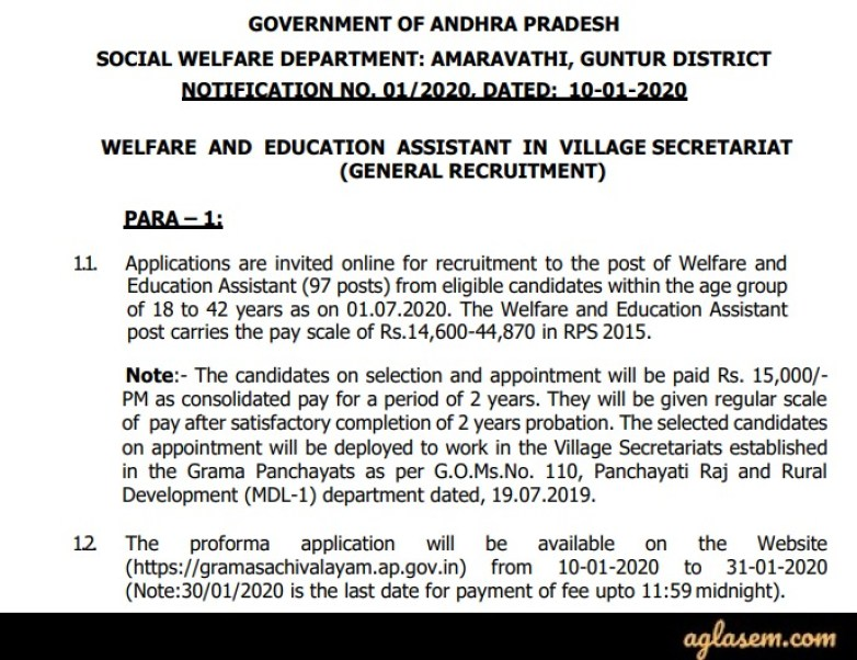 AP Grama Sachivalayam Welfare and Education Assistant Recruitment 2020 Notification