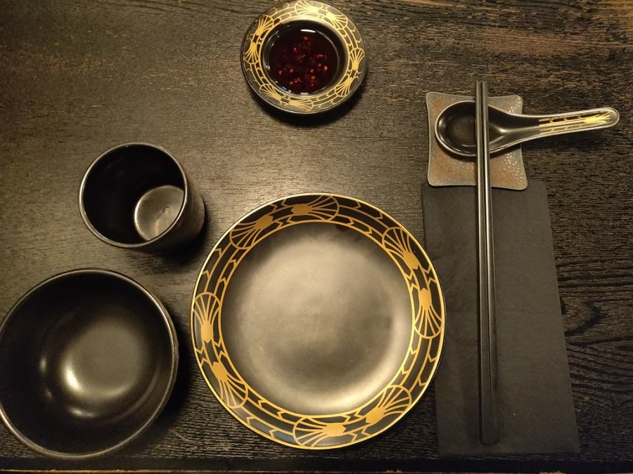 Dark Table Setting Dim Sum Library