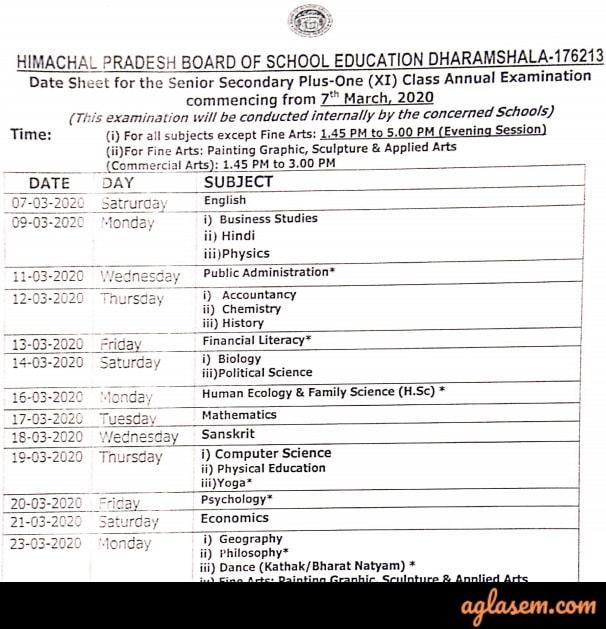 HP Board Class 11 Date Sheet 2020