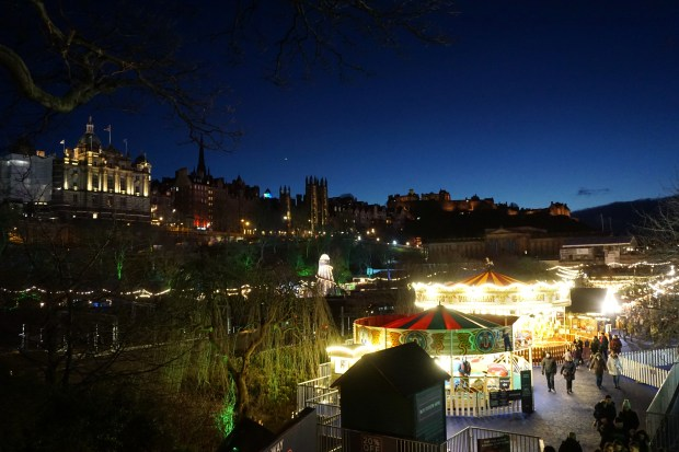 Edinburgh Old Town and the Castle at nightfall