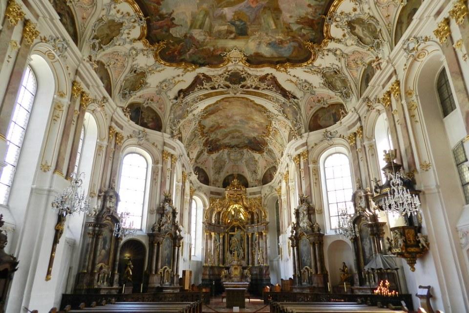 boveda y nave interior Iglesia San Agustin Augustinerkirche Maguncia Mainz Valle del Rin Alemania 01