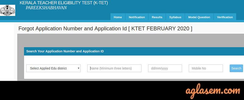 KTET Admit Card 2020 Forgot Application Number