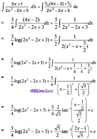 Plus Two Maths Integrals 6 Mark Questions and Answers 101