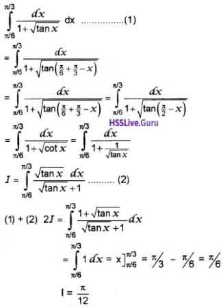 Plus Two Maths Integrals 4 Mark Questions and Answers 59