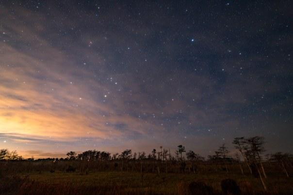Pre-dawn stars and clouds