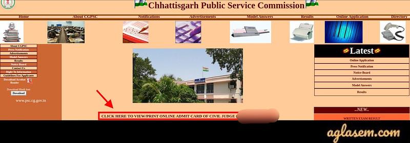 Chhattisgarh Civil Judge Admit Card 2020