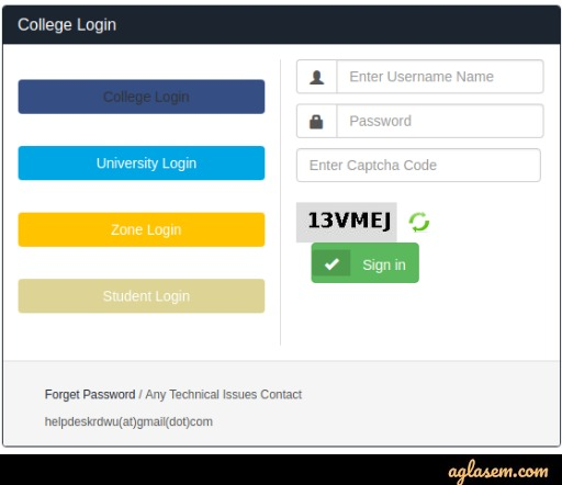 RDWU Login Page