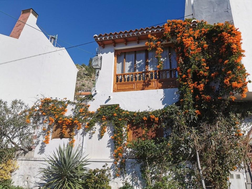 Fachada vivienda adornada con flores Tejeda Gran Canaria
