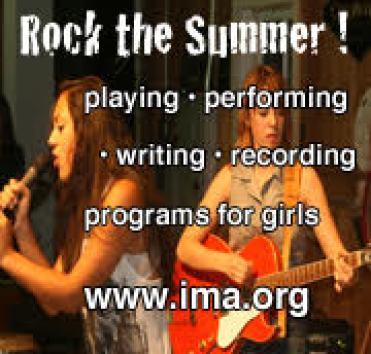 Photography of teen girls performing a concert with graphic overlay for The Institute for the Musical Arts summer program.