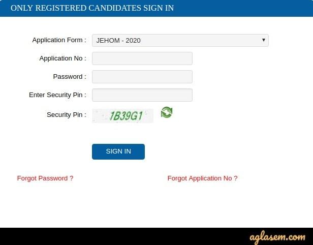 WBJEEB JEHOM 2020 एडमिट कार्ड लॉगइन करें