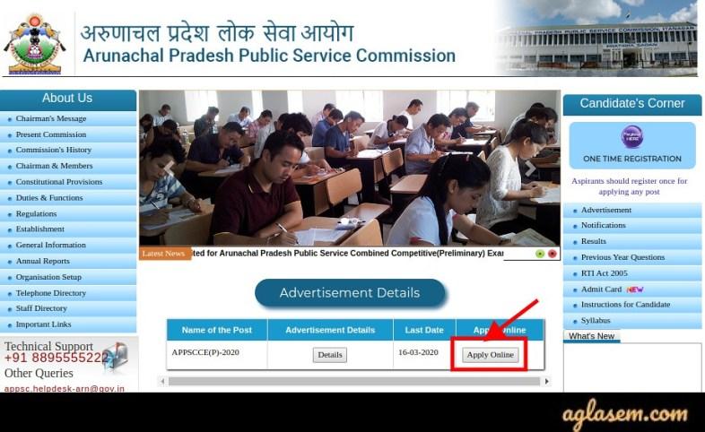 APPSC Arunachal Pradesh Civil Service Online Application Form 2020