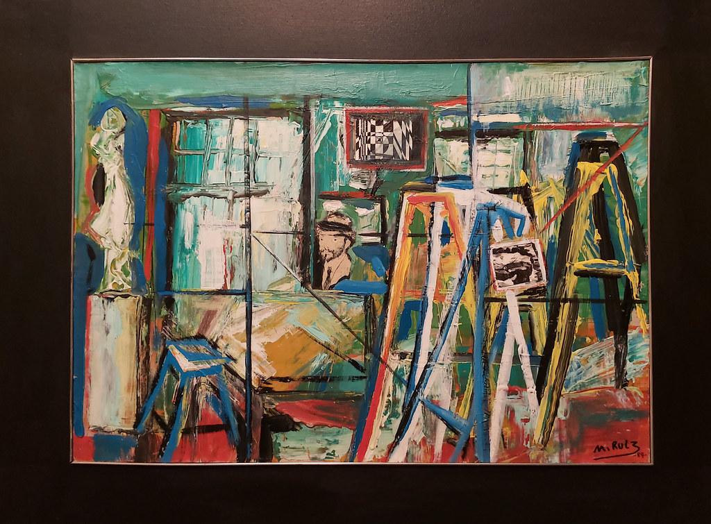 Manolo Ruiz La Escuela Luján Pérez , Homenaje a Felo Monzón 1989 pintura exposicion Escuela Lujan Perez Las Palmas de Gran Canaria