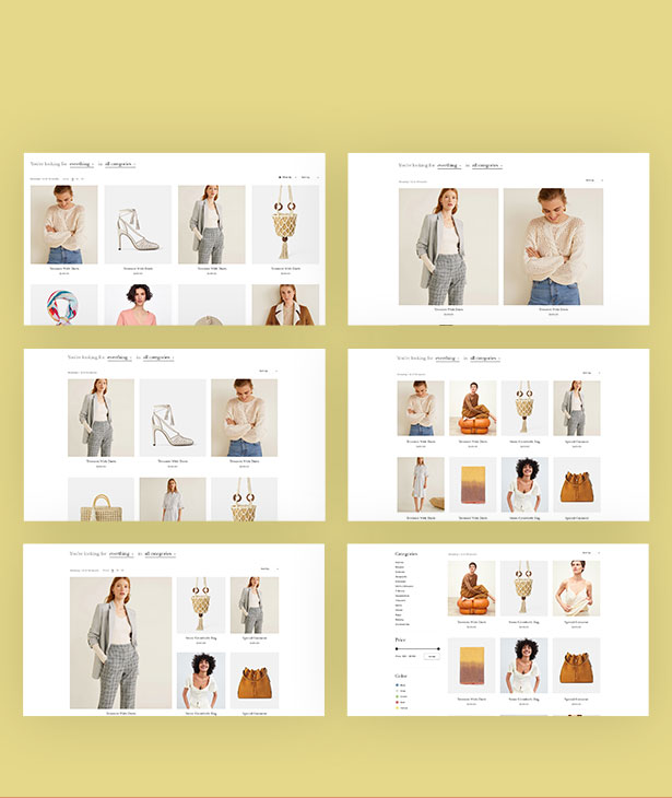 Multiple Shop Page Layouts