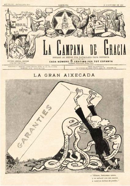 Dibujo inspirado en Goya De Josep Costa Ferrer Picarol 1876 - 1971 Portada de La Campana de Gracia 20 octubre 1917
