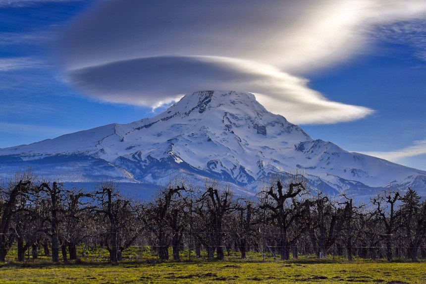 Mt. Hood rises with its head covered in the morning clouds_USFS Photo by Ron Kikel