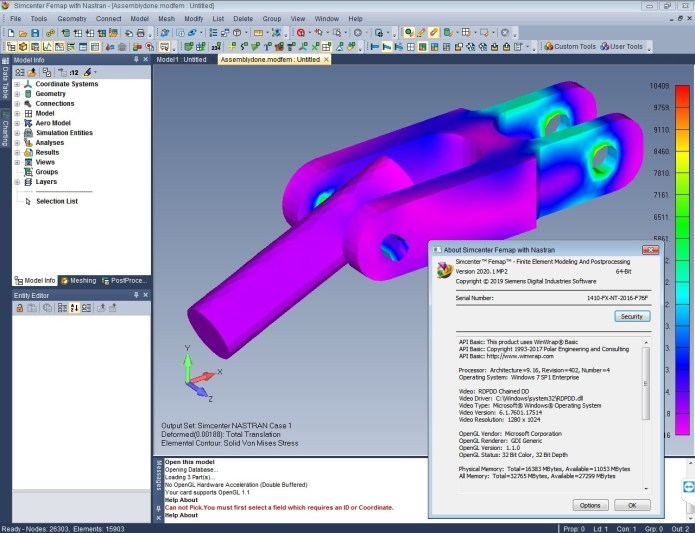 Working with Simcenter FEMAP 2020.1.2 (2020.1 MP2) with NX Nastran full license