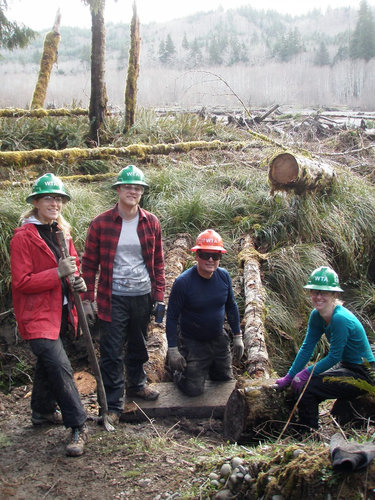 2020_February_Olympic_WTA and BCH volunteers work on Bogachiel Trail. Photos courtesy of Washington Trails Association. Washington Trails Association and Backcountry Horsemen volunteers provide critical mainenance to Olympic National Forest & Park trails.