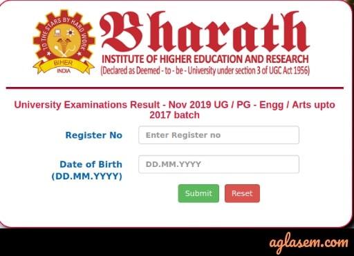 Bharat University Result Nov 2019