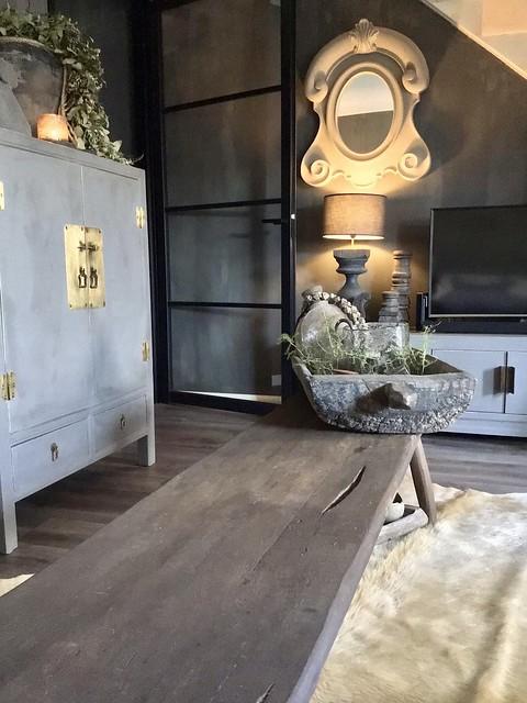 Stalen deur landelijke woonkamer