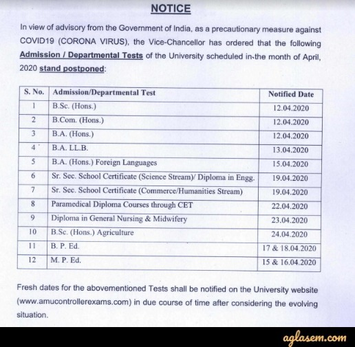 AMU Law Entrance Exam 2020 Postponed