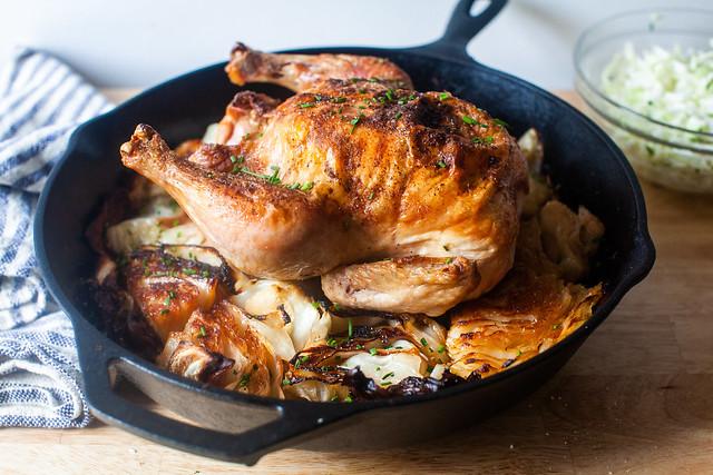 roast chicken with schmaltzy cabbage