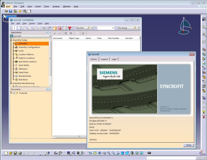 Working with Siemens Syncrofit 15.2.0 for catia v5