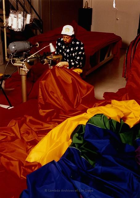 Gilbert Baker working on Mile-Long Flag, 1994